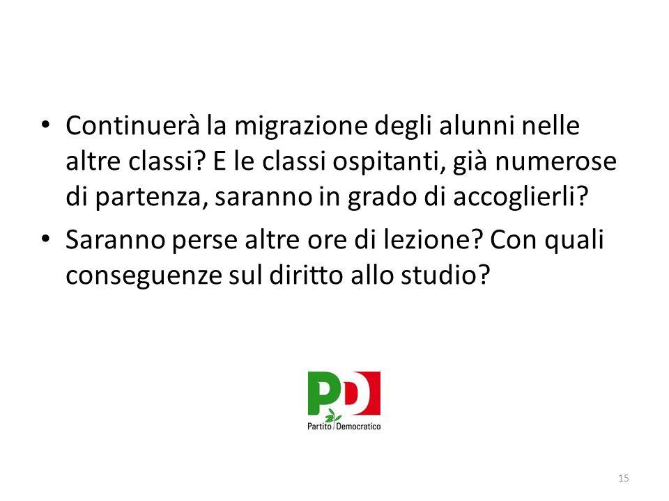 Continuerà la migrazione degli alunni nelle altre classi