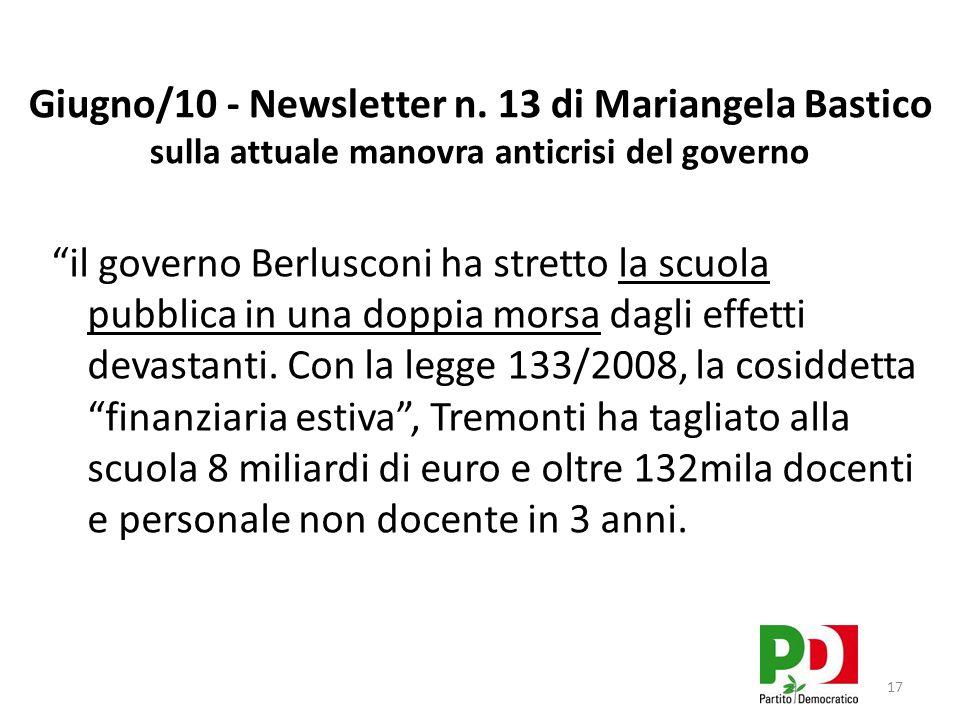 Giugno/10 - Newsletter n. 13 di Mariangela Bastico sulla attuale manovra anticrisi del governo