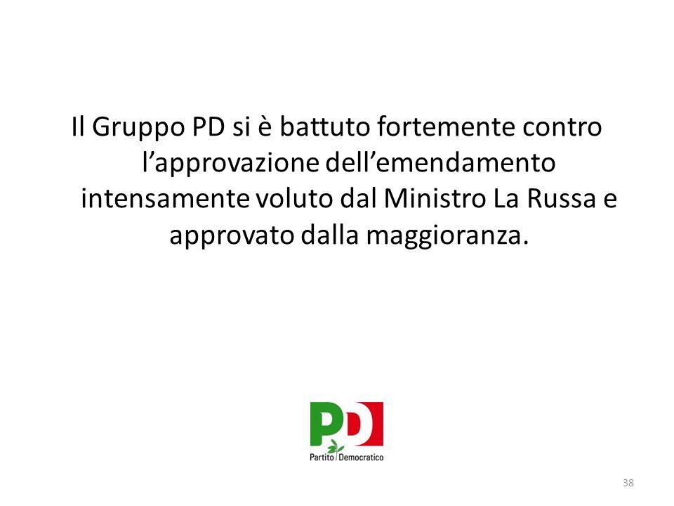 Il Gruppo PD si è battuto fortemente contro l'approvazione dell'emendamento intensamente voluto dal Ministro La Russa e approvato dalla maggioranza.