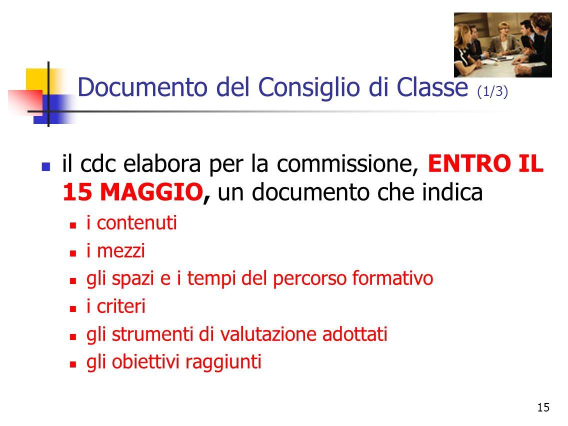 Documento del Consiglio di Classe (1/3)