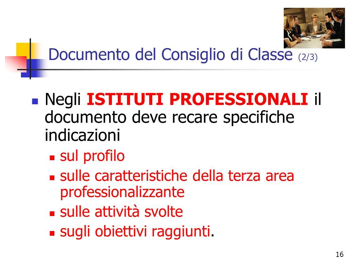 Documento del Consiglio di Classe (2/3)