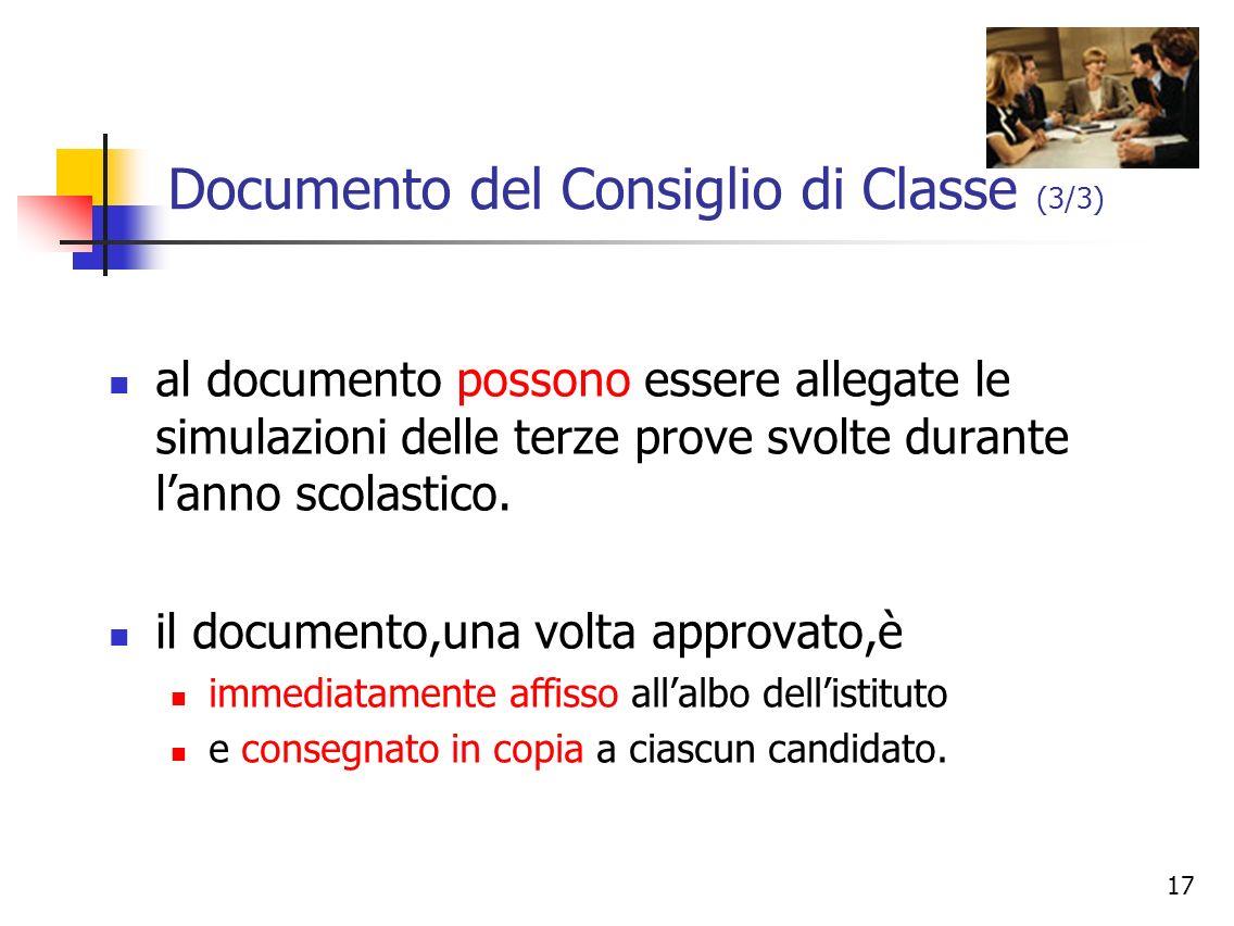 Documento del Consiglio di Classe (3/3)