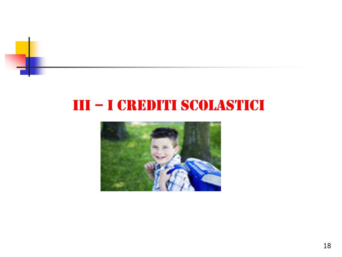III – I CREDITI SCOLASTICI