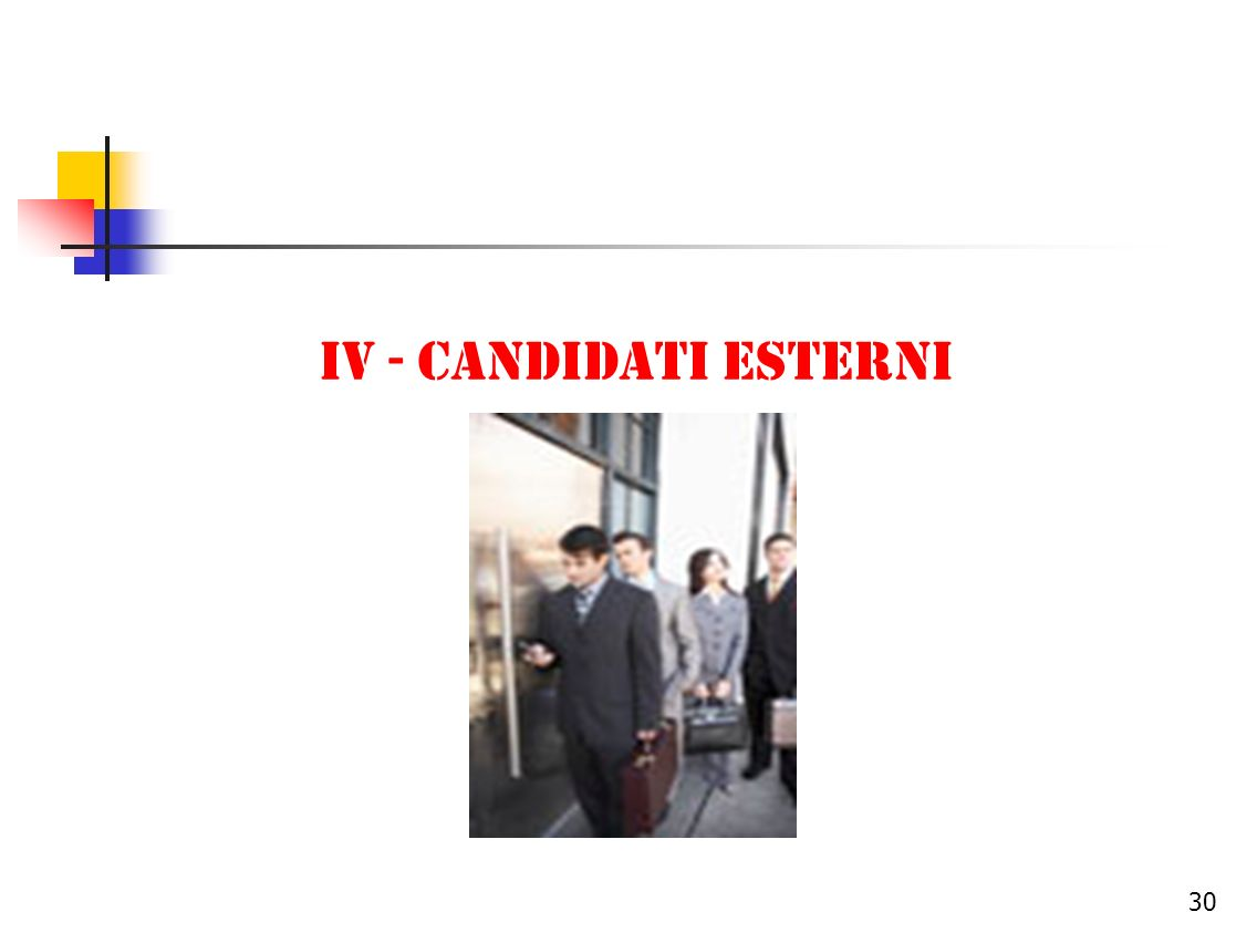IV - CANDIDATI ESTERNI