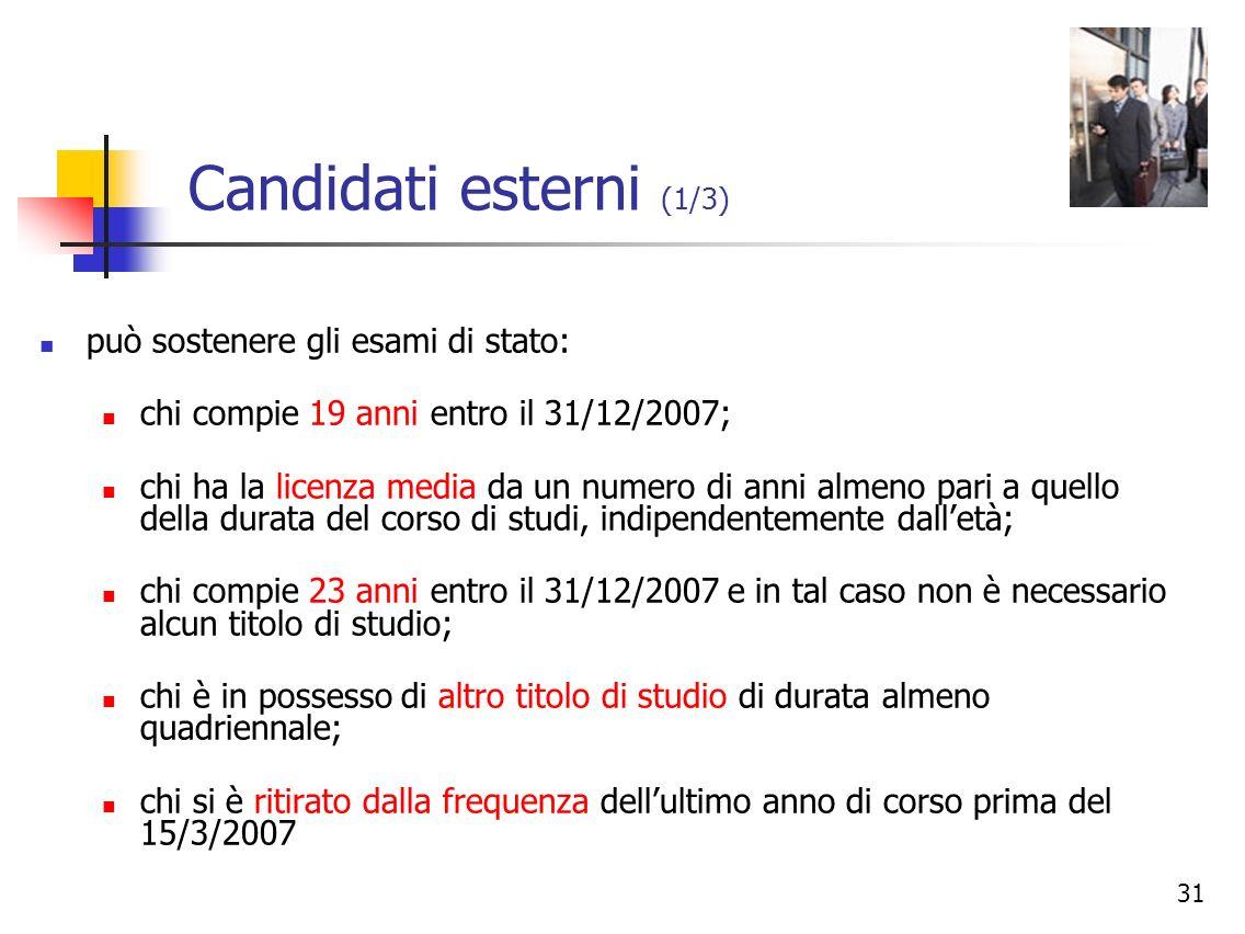 Candidati esterni (1/3) può sostenere gli esami di stato: