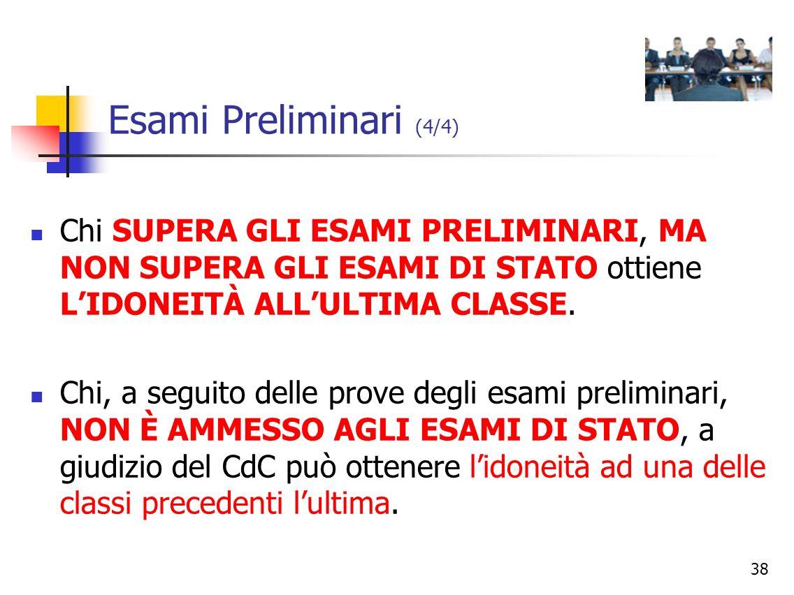 Esami Preliminari (4/4) Chi SUPERA GLI ESAMI PRELIMINARI, MA NON SUPERA GLI ESAMI DI STATO ottiene L'IDONEITÀ ALL'ULTIMA CLASSE.