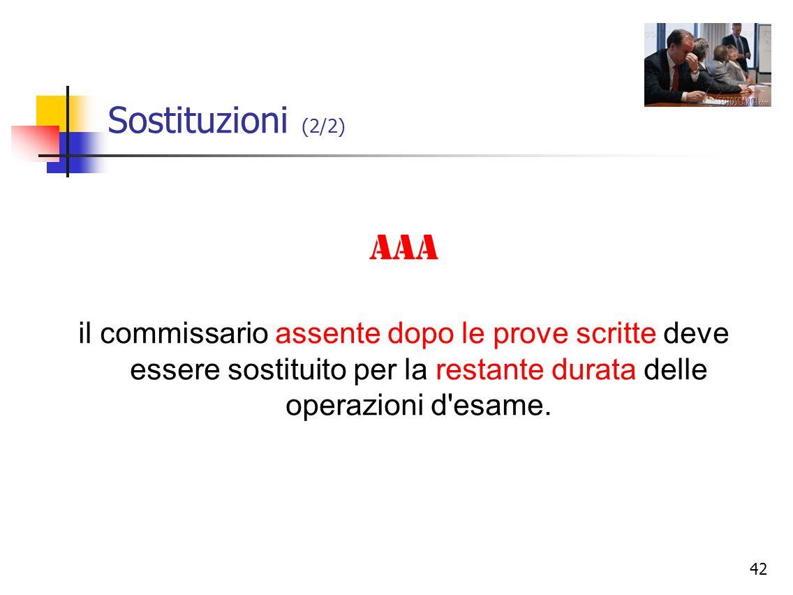 Sostituzioni (2/2) AAA.