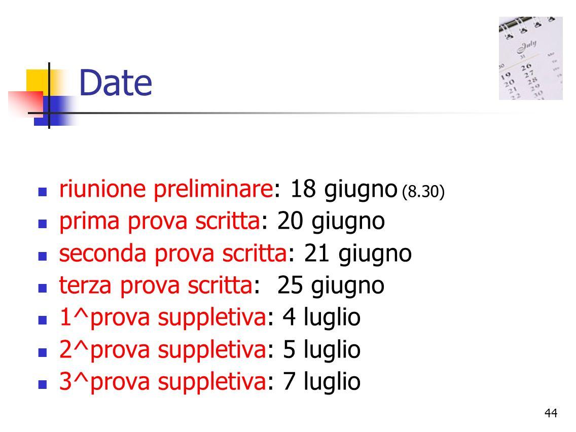 Date riunione preliminare: 18 giugno (8.30)