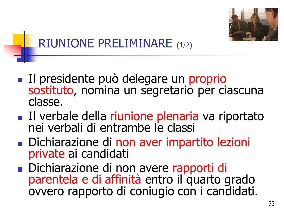RIUNIONE PRELIMINARE (1/2)