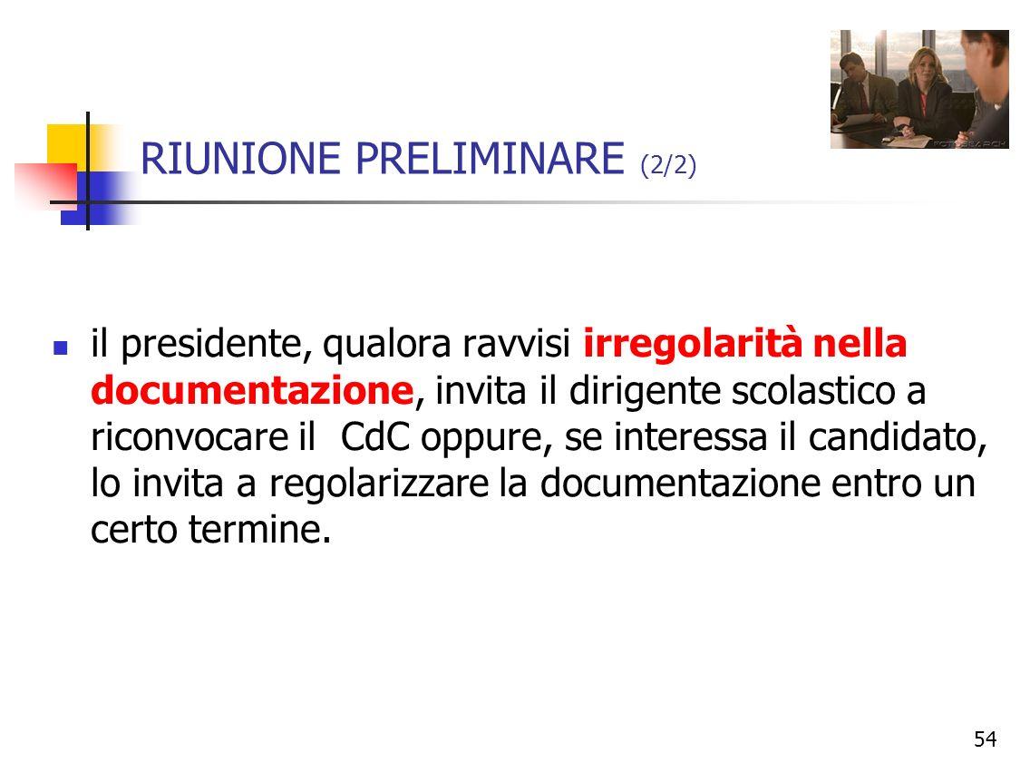 RIUNIONE PRELIMINARE (2/2)