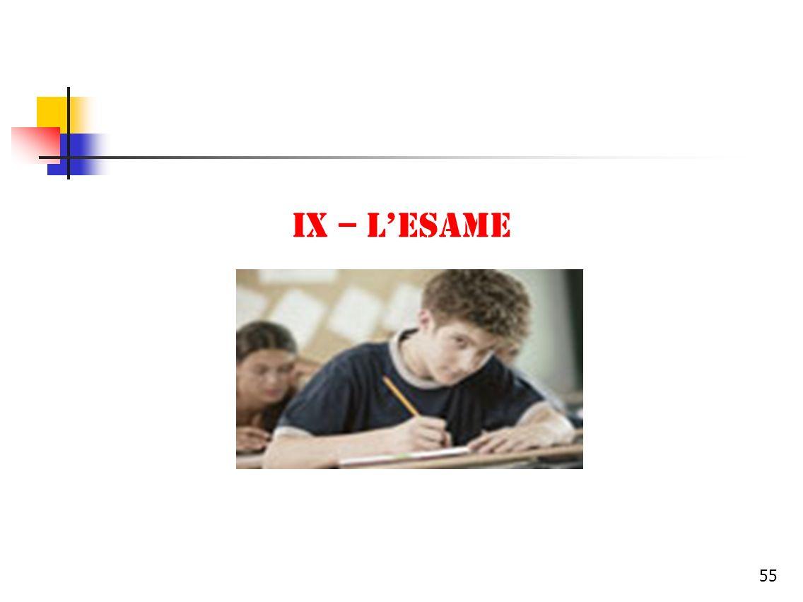 IX – L'ESAME