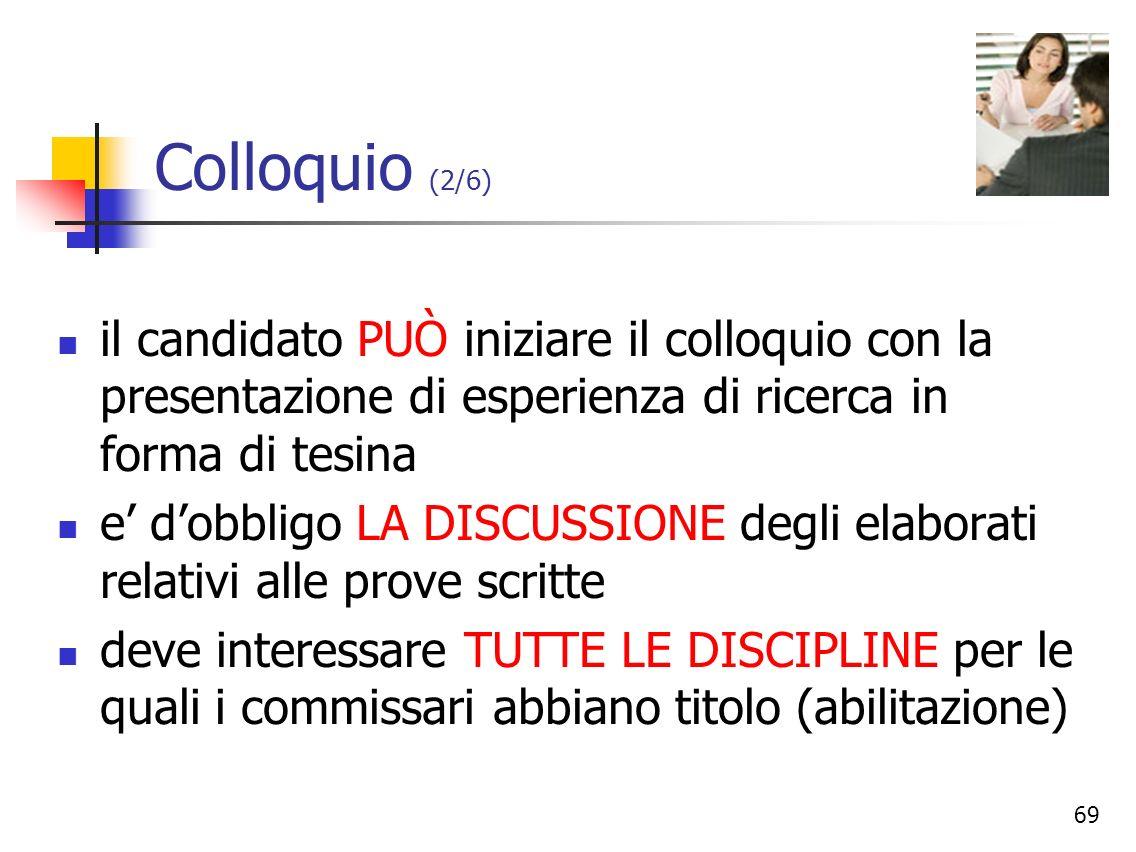 Colloquio (2/6)il candidato PUÒ iniziare il colloquio con la presentazione di esperienza di ricerca in forma di tesina.
