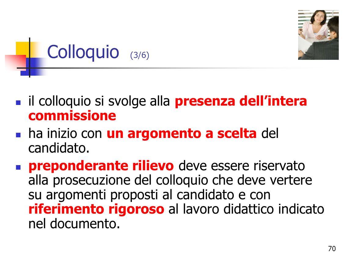 Colloquio (3/6)il colloquio si svolge alla presenza dell'intera commissione. ha inizio con un argomento a scelta del candidato.