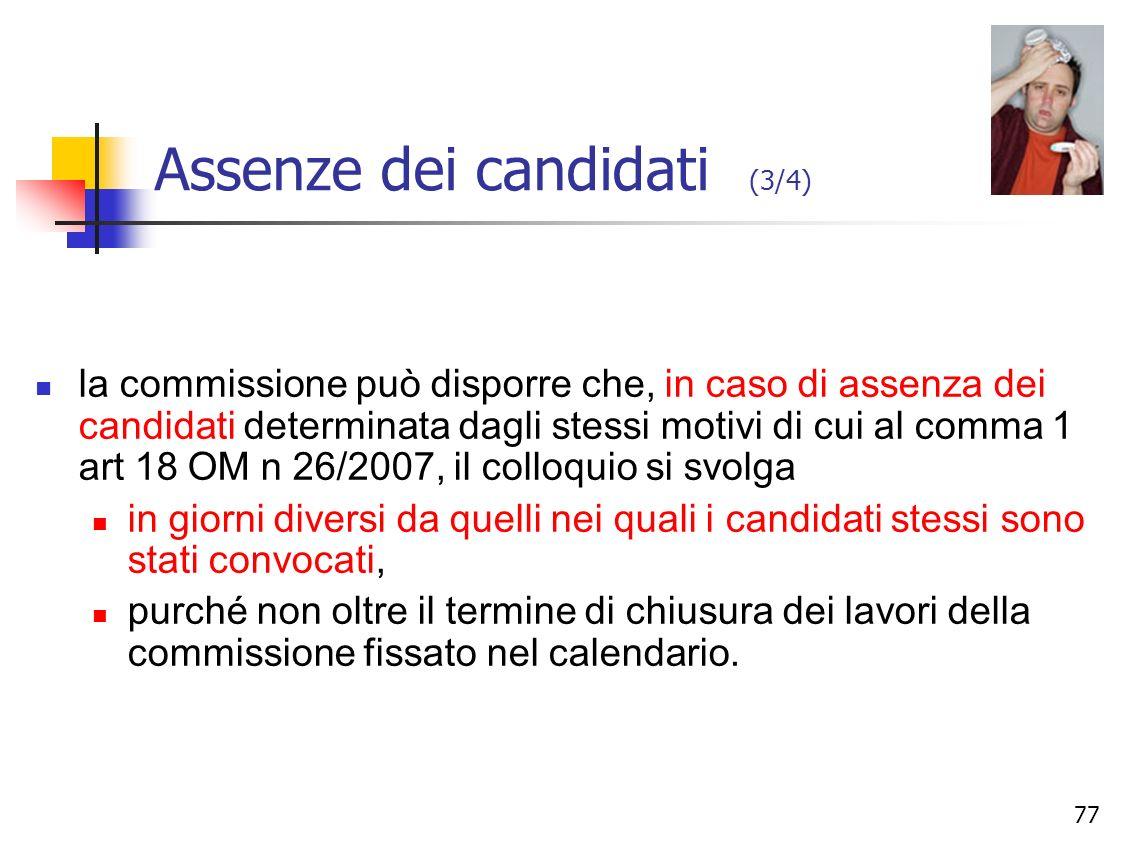 Assenze dei candidati (3/4)
