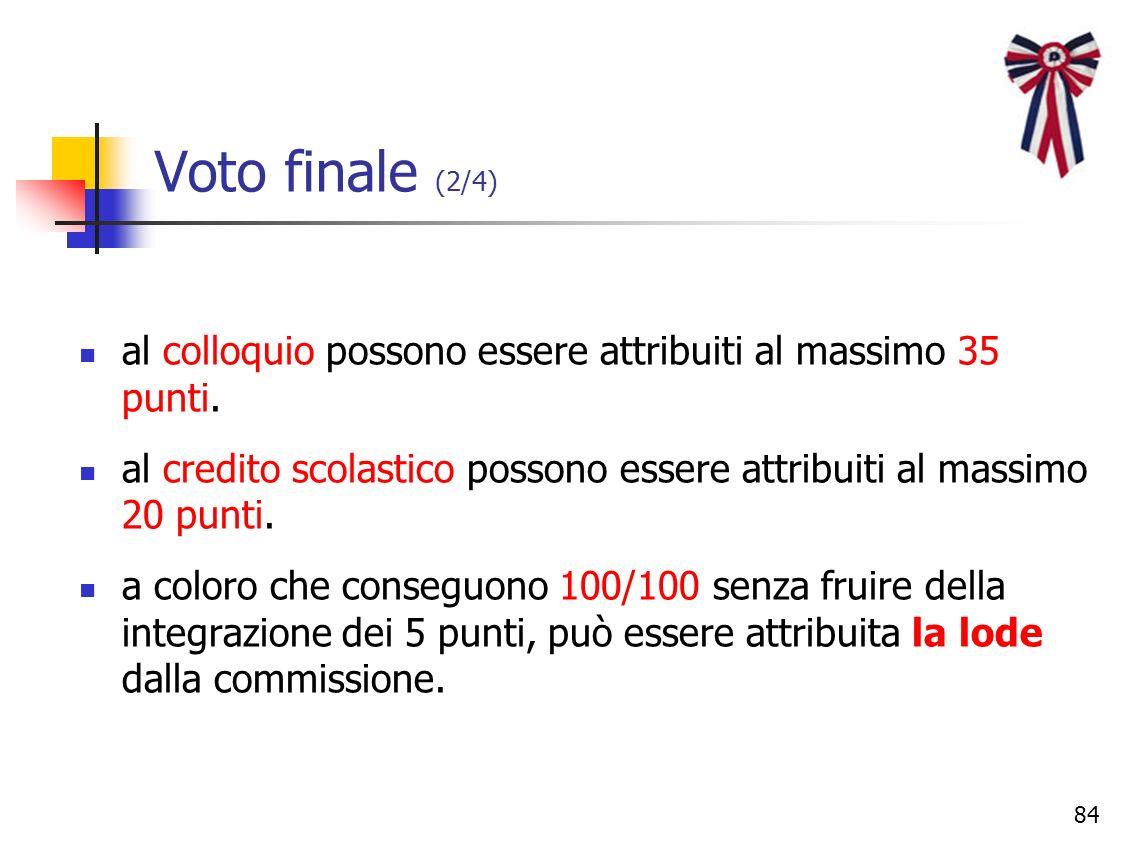 Voto finale (2/4) al colloquio possono essere attribuiti al massimo 35 punti. al credito scolastico possono essere attribuiti al massimo 20 punti.