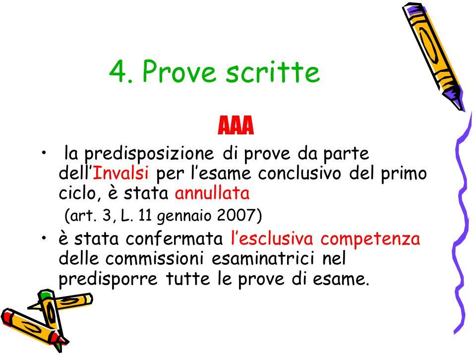 4. Prove scritte AAA. la predisposizione di prove da parte dell'Invalsi per l'esame conclusivo del primo ciclo, è stata annullata.