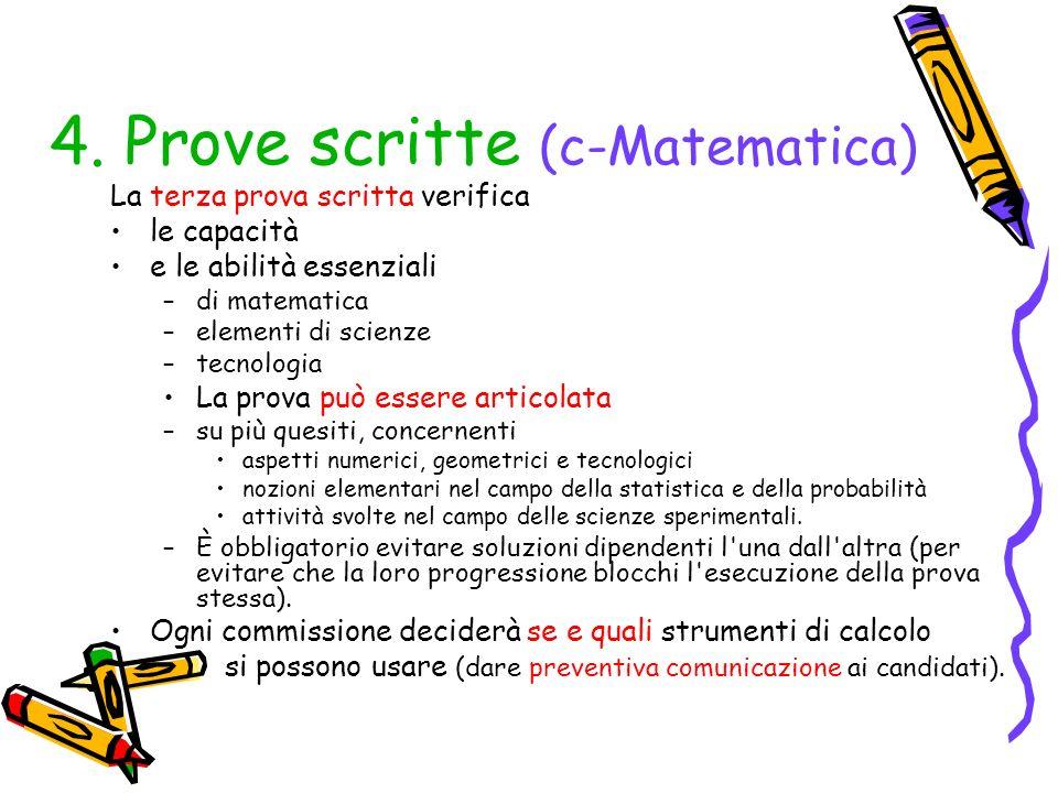 4. Prove scritte (c-Matematica)