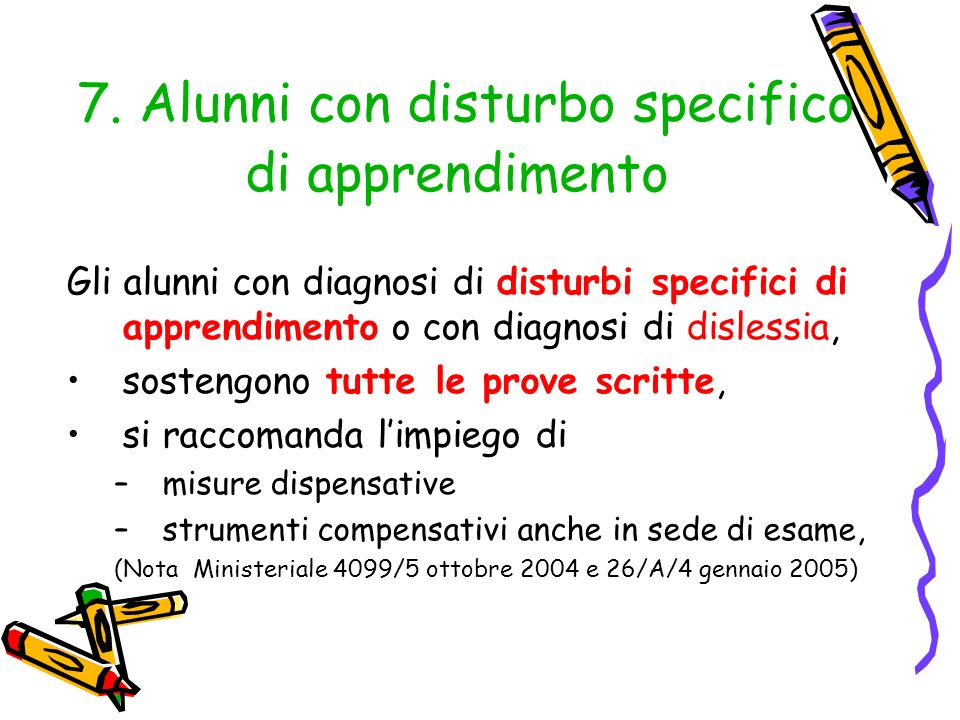 7. Alunni con disturbo specifico di apprendimento