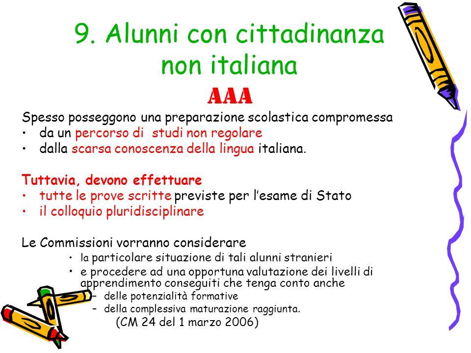 9. Alunni con cittadinanza non italiana