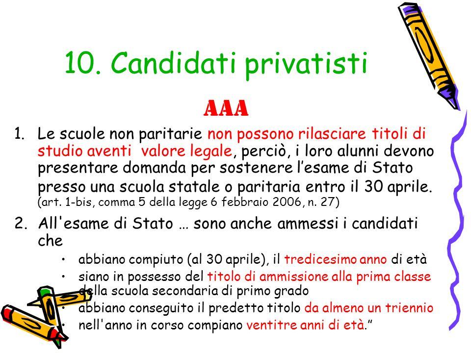 10. Candidati privatisti aAA
