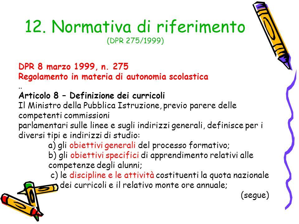 12. Normativa di riferimento (DPR 275/1999)