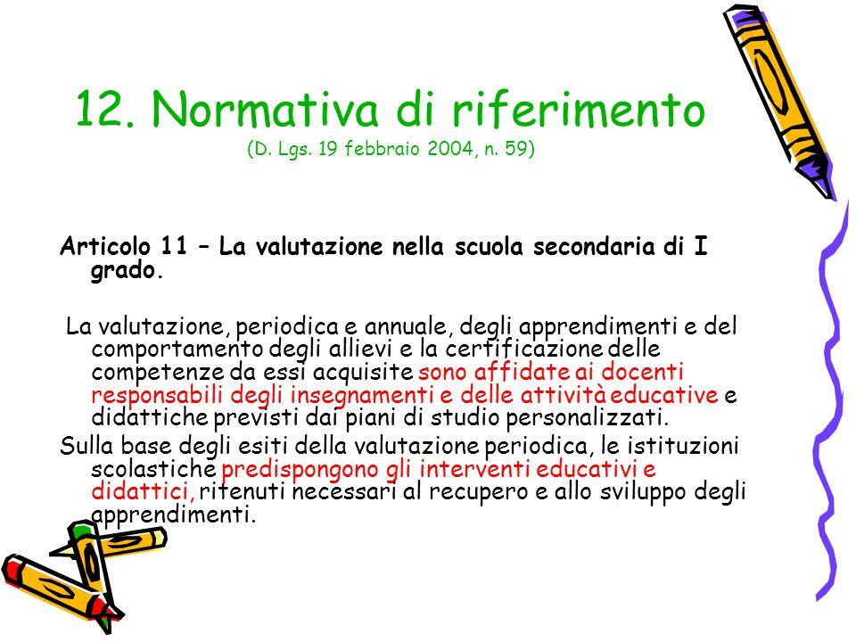 12. Normativa di riferimento (D. Lgs. 19 febbraio 2004, n. 59)