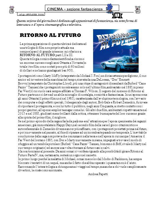 RITORNO AL FUTURO CINEMA – sezione fantascienza