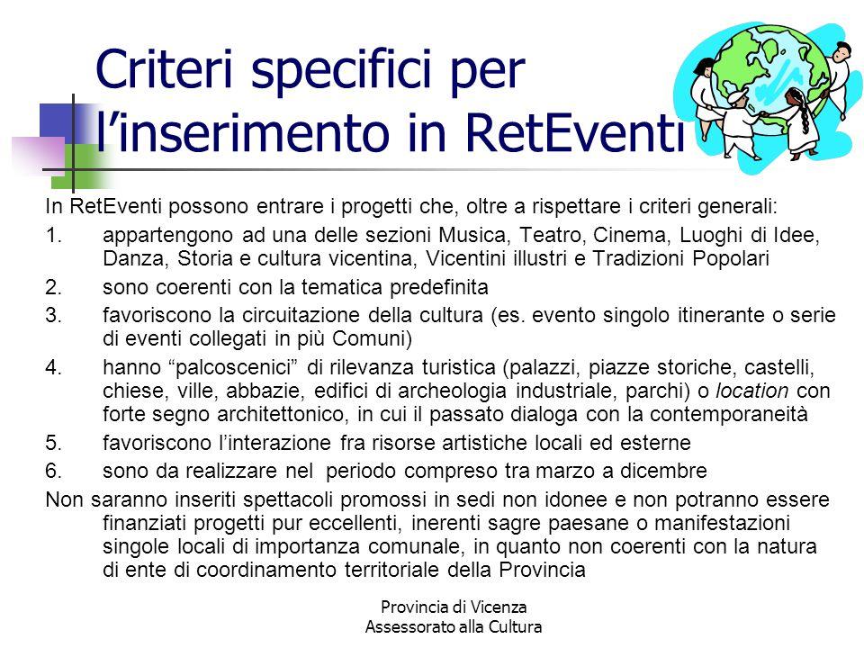Criteri specifici per l'inserimento in RetEventi