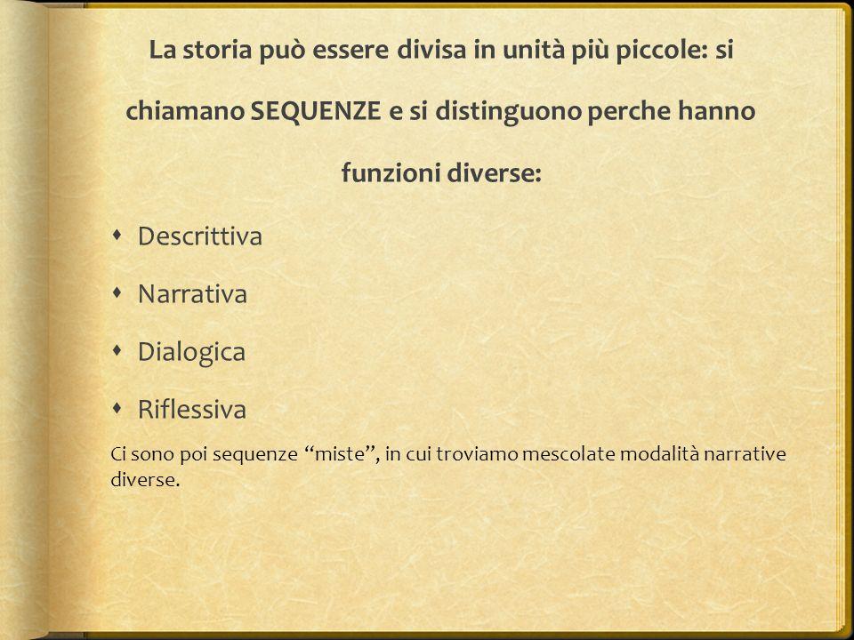 La storia può essere divisa in unità più piccole: si chiamano SEQUENZE e si distinguono perche hanno funzioni diverse: