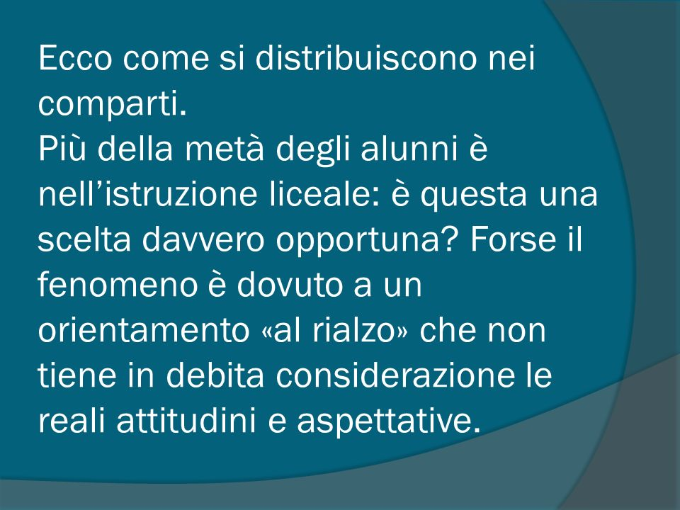 Ecco come si distribuiscono nei comparti