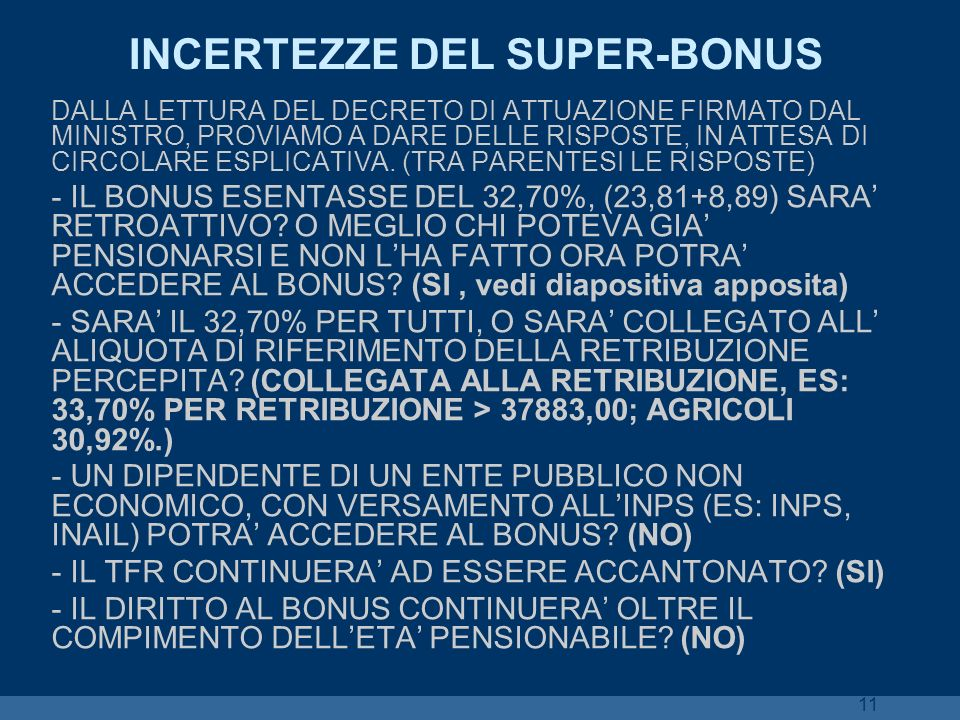 INCERTEZZE DEL SUPER-BONUS
