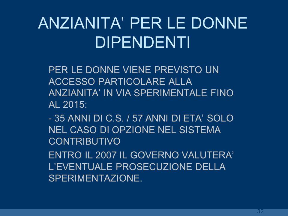 ANZIANITA' PER LE DONNE DIPENDENTI