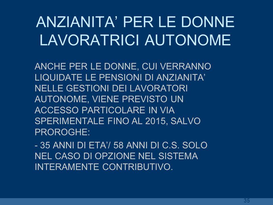ANZIANITA' PER LE DONNE LAVORATRICI AUTONOME