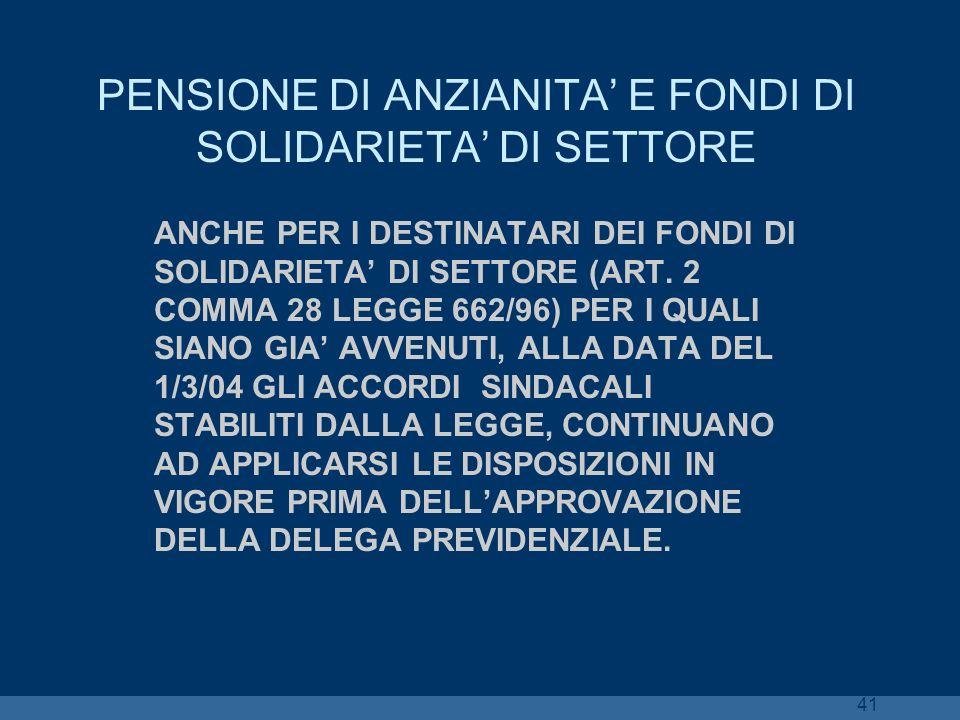 PENSIONE DI ANZIANITA' E FONDI DI SOLIDARIETA' DI SETTORE