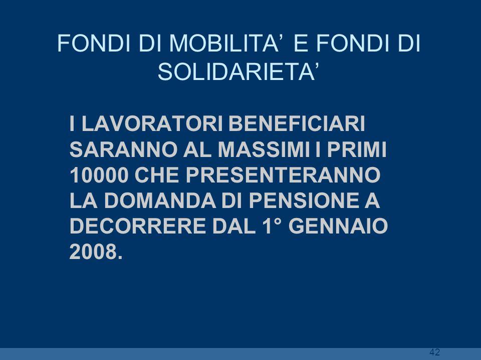 FONDI DI MOBILITA' E FONDI DI SOLIDARIETA'