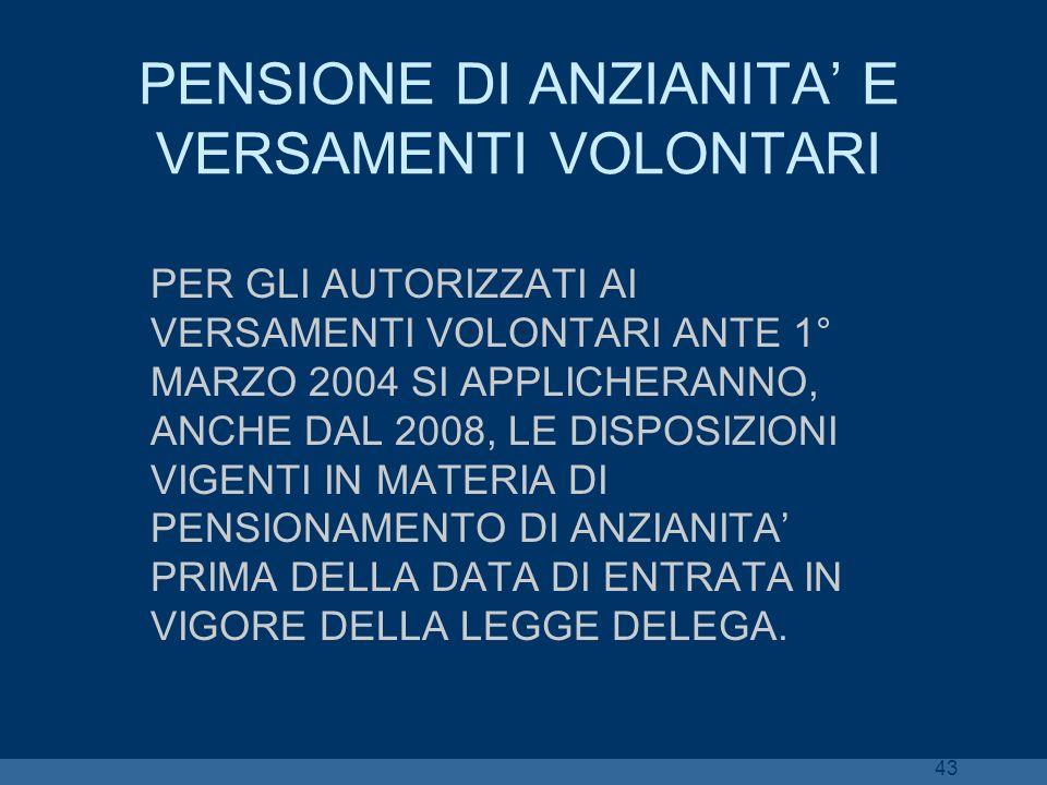PENSIONE DI ANZIANITA' E VERSAMENTI VOLONTARI