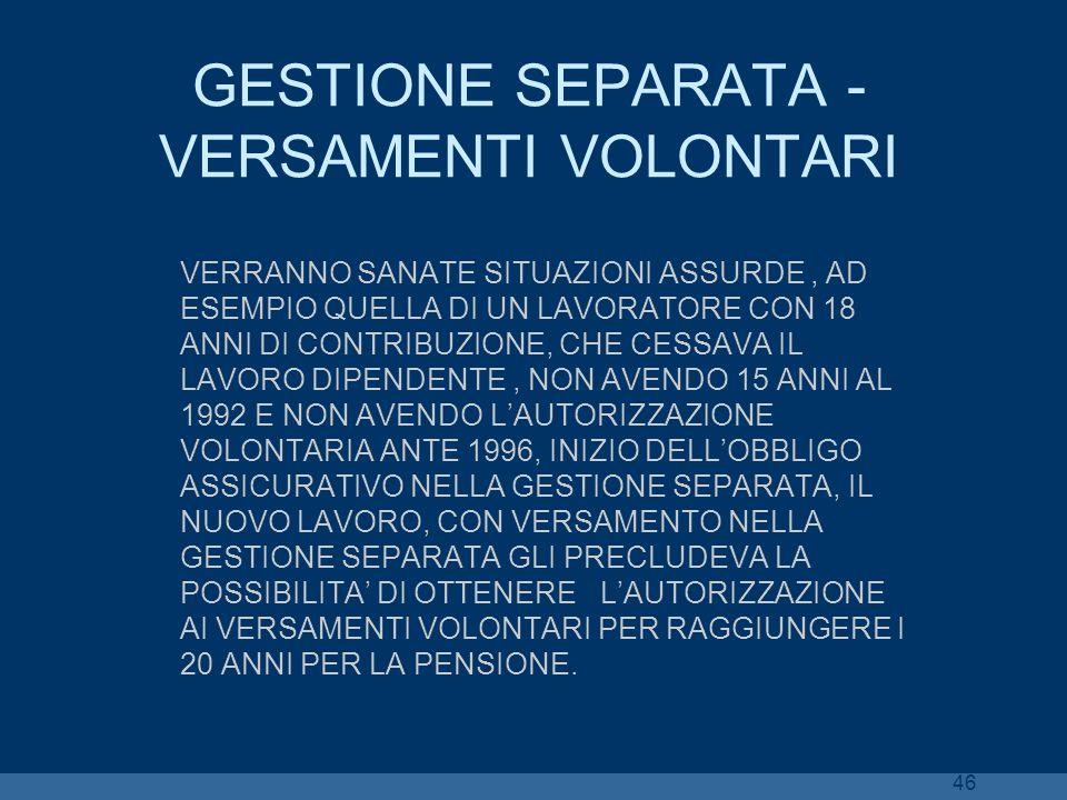 GESTIONE SEPARATA - VERSAMENTI VOLONTARI