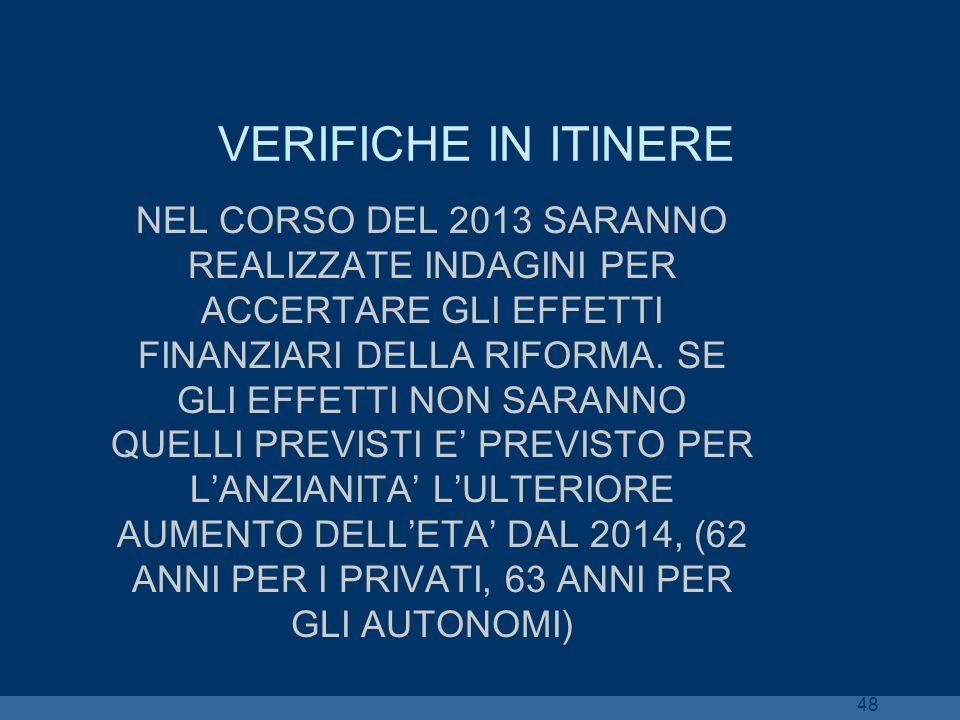 VERIFICHE IN ITINERE