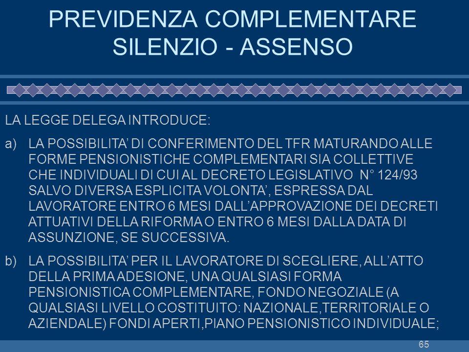 PREVIDENZA COMPLEMENTARE SILENZIO - ASSENSO