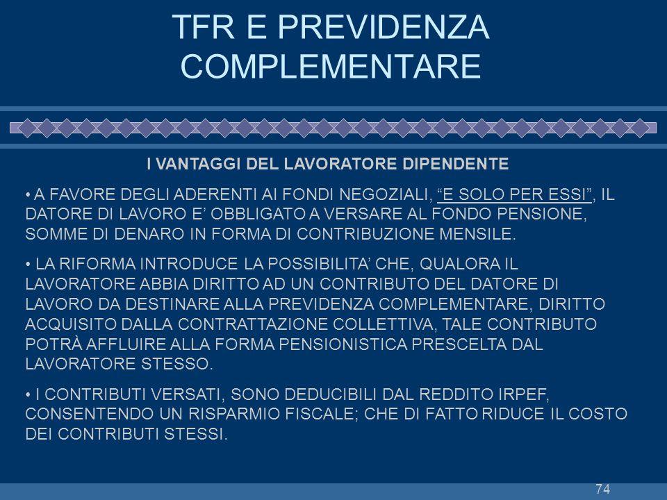 TFR E PREVIDENZA COMPLEMENTARE