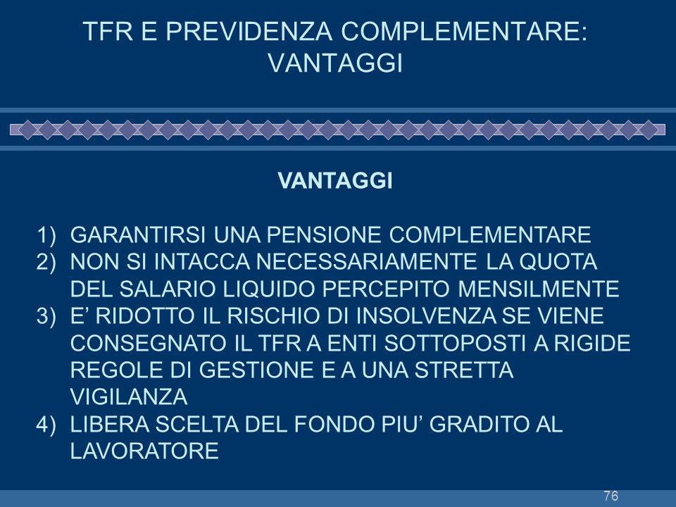 TFR E PREVIDENZA COMPLEMENTARE: VANTAGGI