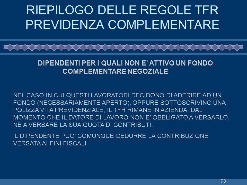 RIEPILOGO DELLE REGOLE TFR PREVIDENZA COMPLEMENTARE