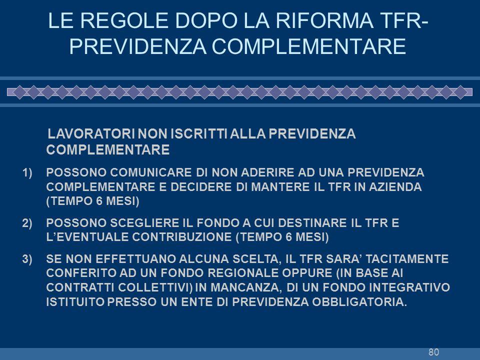 LE REGOLE DOPO LA RIFORMA TFR-PREVIDENZA COMPLEMENTARE