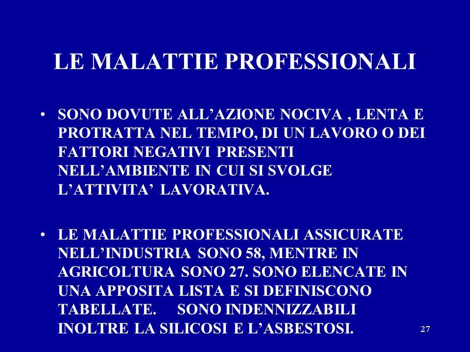 LE MALATTIE PROFESSIONALI
