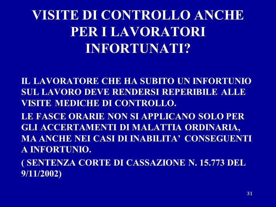 VISITE DI CONTROLLO ANCHE PER I LAVORATORI INFORTUNATI