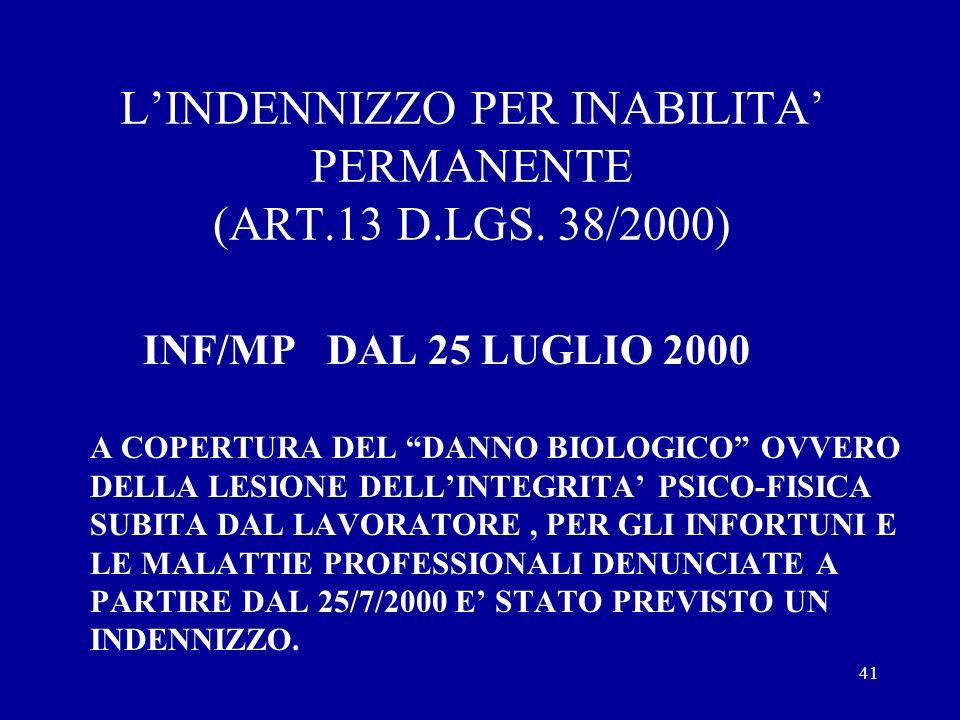 L'INDENNIZZO PER INABILITA' PERMANENTE (ART.13 D.LGS. 38/2000)