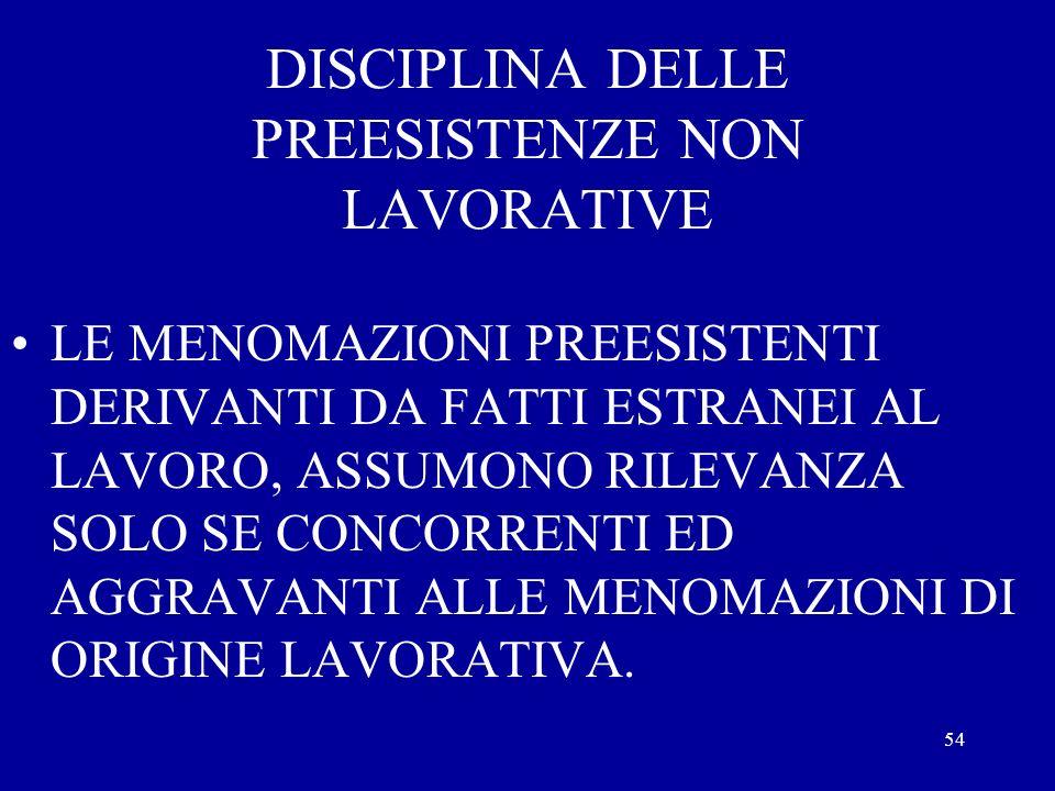 DISCIPLINA DELLE PREESISTENZE NON LAVORATIVE
