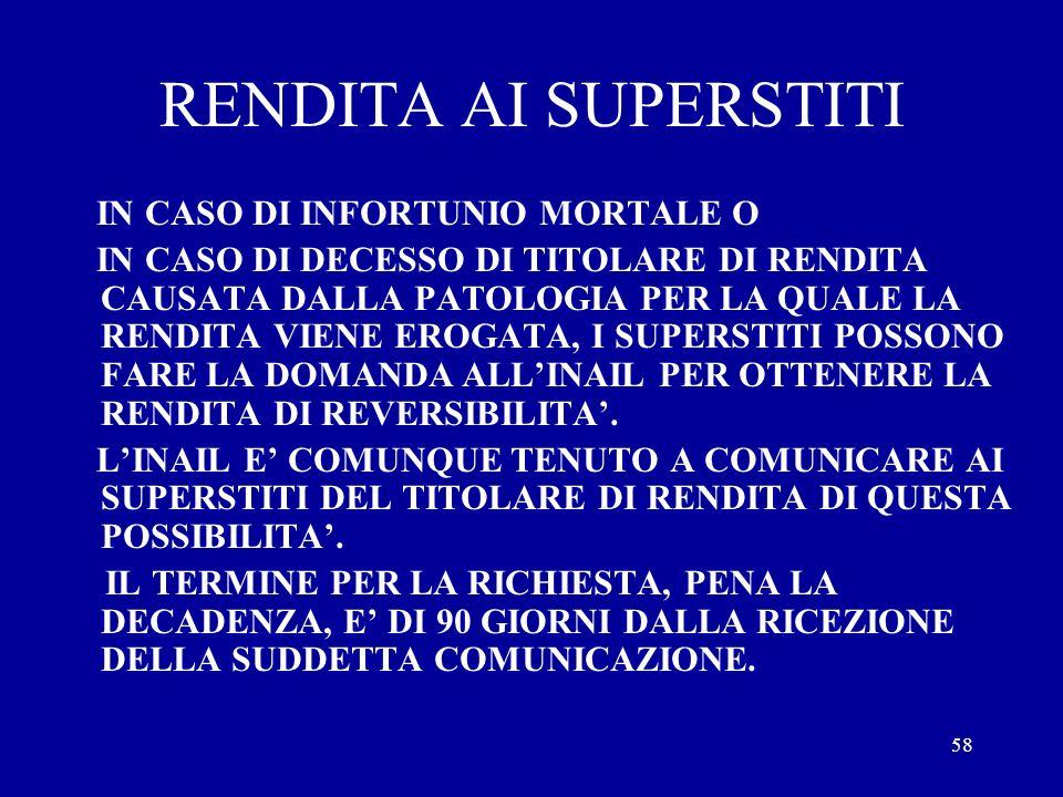 RENDITA AI SUPERSTITI IN CASO DI INFORTUNIO MORTALE O