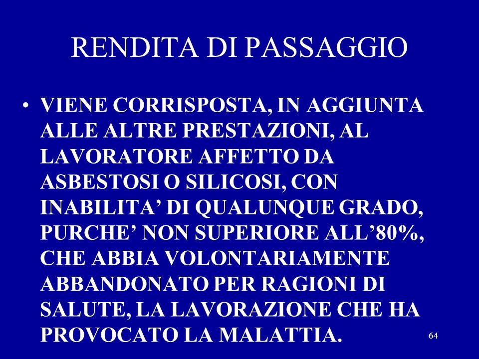 RENDITA DI PASSAGGIO