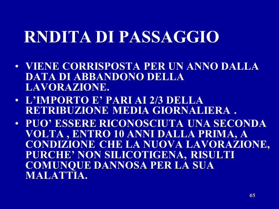 RNDITA DI PASSAGGIO VIENE CORRISPOSTA PER UN ANNO DALLA DATA DI ABBANDONO DELLA LAVORAZIONE.